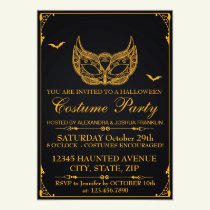 Halloween Costume Party Gold Invitation