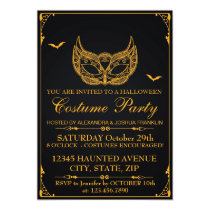 Halloween Costume Party Gold Invitation