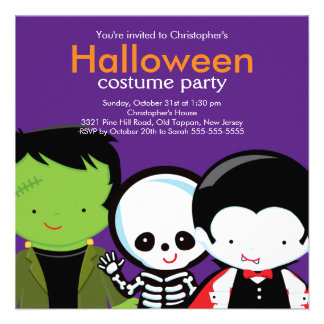 Halloween Costume Party Invitation Cute Monsters