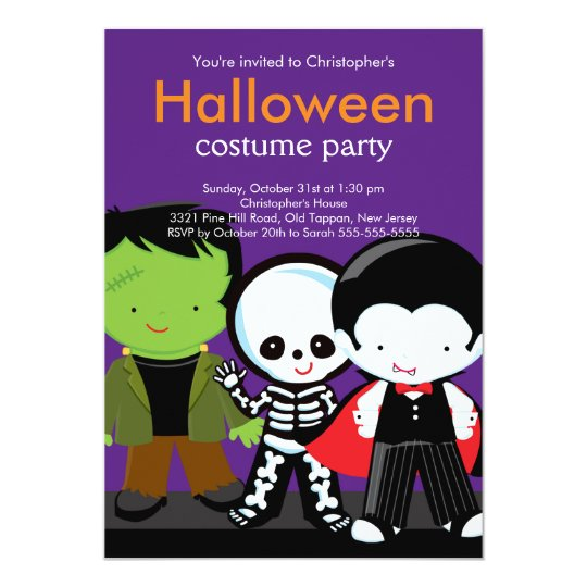 Halloween Costume Party Invitation Monsters