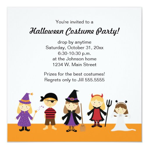 """Halloween Costume Party Invitations for Kids 5.25"""" Square Invitation Card"""