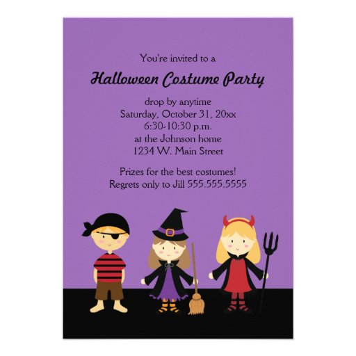Halloween Costume Party Invitations for Kids