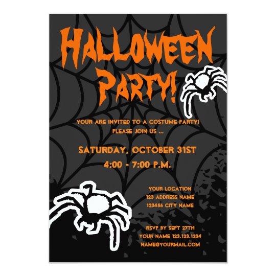 halloween costume party invitations with spiderweb zazzle com