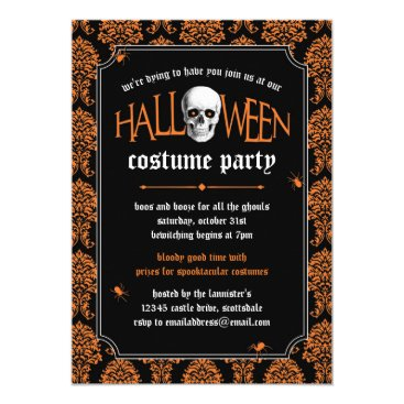 Halloween Themed Halloween Costume Party Skull on Orange Damask Card
