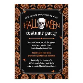 Halloween Costume Party Skull on Orange Damask Invitation