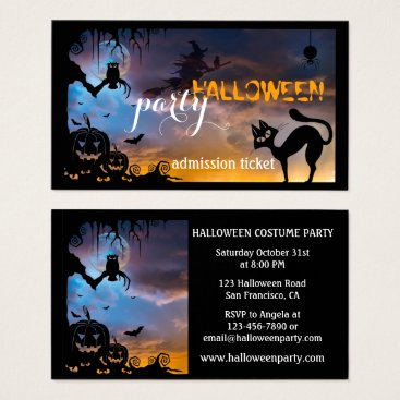 Professional Business Halloween Costume Party Ticket Business Card