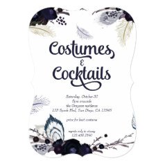Halloween Costumes and Cocktails Masquerade Bash Invitation