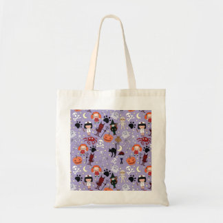 Halloween Costumes on Purple Tote Bag