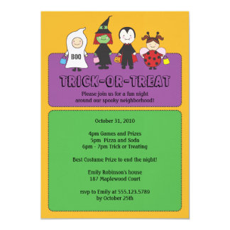 Halloween Costumes Trick or Treating Party Card