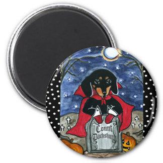 Halloween Count  Dachshund 2 Inch Round Magnet