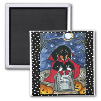 Halloween Count  Dachshund 2 Inch Square Magnet
