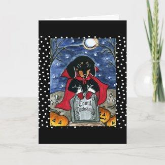 Halloween Count Dachshund card