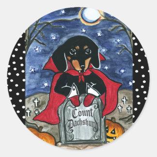 Halloween Count  Dachshund Classic Round Sticker