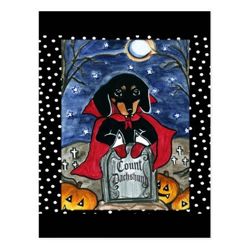 Halloween Count  Dachshund Post Card