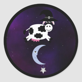 Halloween Cow with Witches Hat Jumping over Moon Classic Round Sticker
