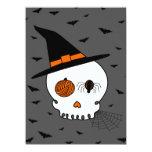 Halloween Craft Skull & Bats (Grey Background) 5.5x7.5 Paper Invitation Card