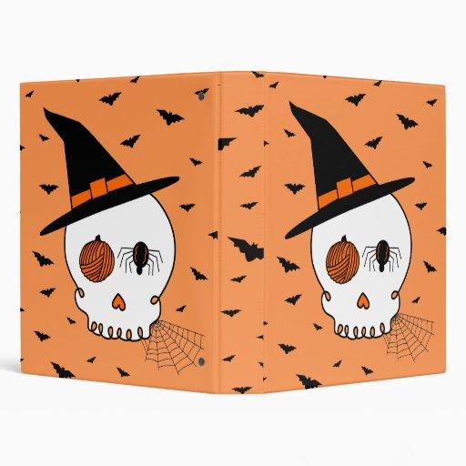 Halloween Craft Skull & Bats (Orange Background) Binders