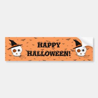 Halloween Craft Skull & Bats (Orange Background) Bumper Sticker