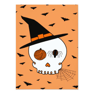 Halloween Craft Skull & Bats (Orange Background) Card