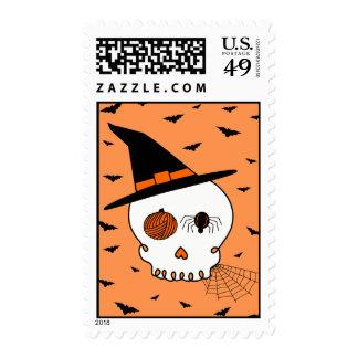 Halloween Craft Skull & Bats (Orange Background) Stamp