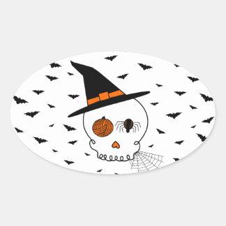 Halloween Craft Skull & Bats Oval Sticker