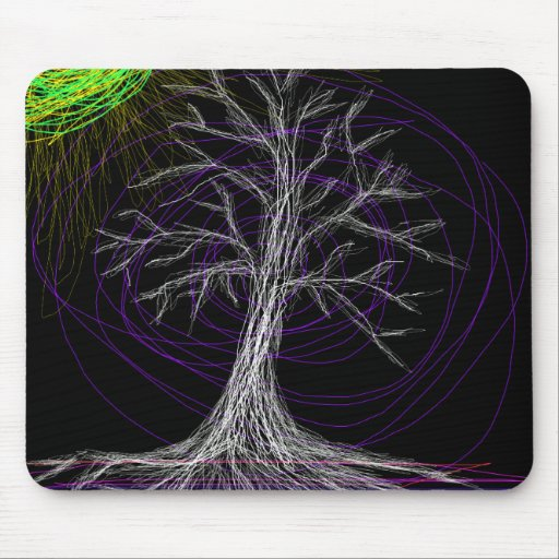 Halloween crazy tree mouse pad