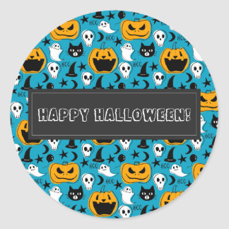 Halloween Creatures Illustration Classic Round Sticker