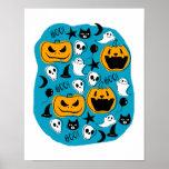 Halloween Creatures Illustration Poster