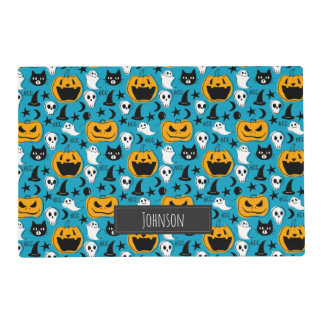 Halloween Creatures Illustration with Family Name Placemat