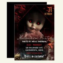 Halloween Creepy Haunted Doll Party Invitation