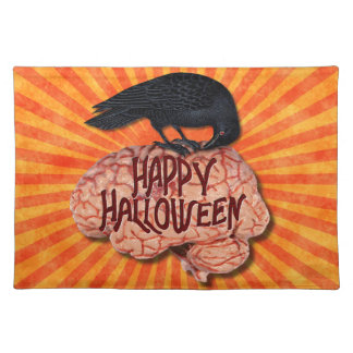 Halloween - Creepy Raven on Brain Cloth Placemat