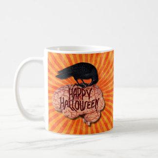 Halloween - Creepy Raven on Brain Coffee Mug