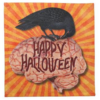 Halloween - Creepy Raven on Brain Napkin