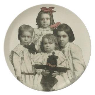 Halloween Creepy Scary Children Red Eyes Vintage Plates
