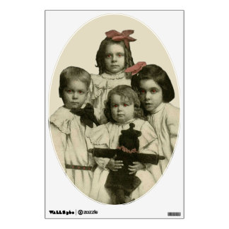 Halloween Creepy Scary Children Red Eyes Vintage Wall Decal