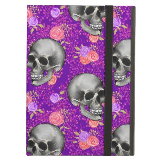Halloween Creepy Skull Gothic Purple Rose Floral Case For iPad Air