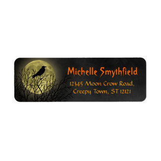 Halloween Crow on Tree with Moon Custom Return Address Label