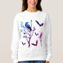 Halloween Crows Bats Pink Purple Watercolor Sweatshirt