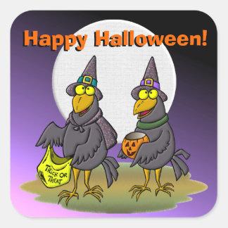 Halloween Crows Square Sticker