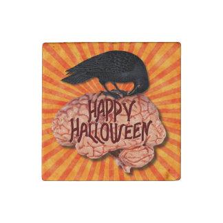 Halloween - cuervo espeluznante en cerebro imán de piedra