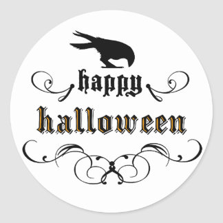 Halloween - cuervo pegatina redonda