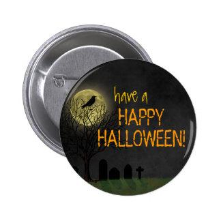 Halloween - cuervo y luna del cementerio pins