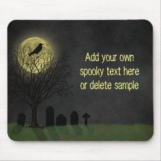 Halloween - cuervo y luna del cementerio tapete de ratones
