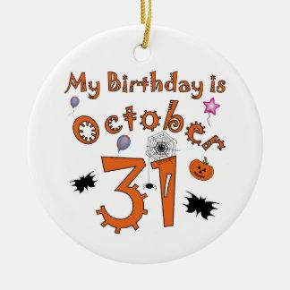 Halloween cumpleaños 31 de octubre ornamento para arbol de navidad