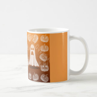 Halloween cup with ghost and pumpkins