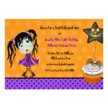 Halloween Cupcake and Girl Ghoul Birthday Invitations