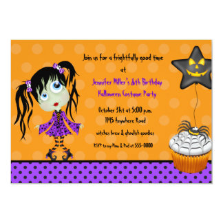 Halloween Cupcake and Girl Ghoul Birthday 5x7 Paper Invitation Card