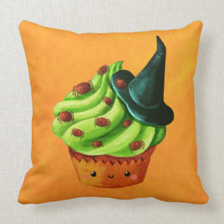 Halloween Cupcake full of tiny spiders Throw Pillows