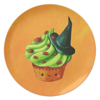 Halloween Cupcake full of tiny spiders Dinner Plates