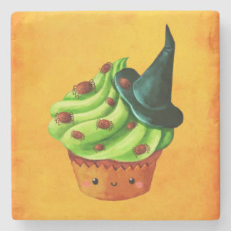 Halloween Cupcake full of tiny spiders Stone Coaster